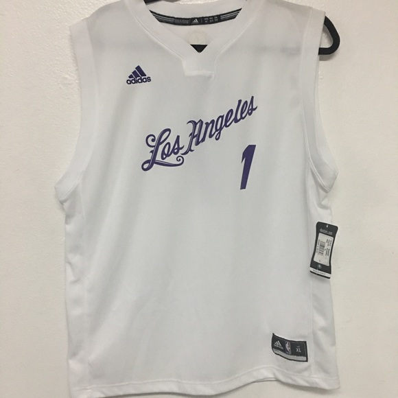 MENS ADIDAS LOS ANGELES LAKERS WHITE JERSEY 16c09f113